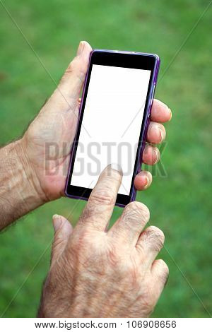 Hand Senior Man Using Cell Phone