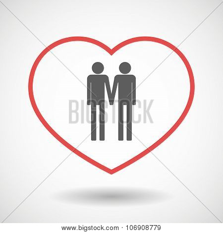 Line Hearth Icon With A Gay Couple Pictogram