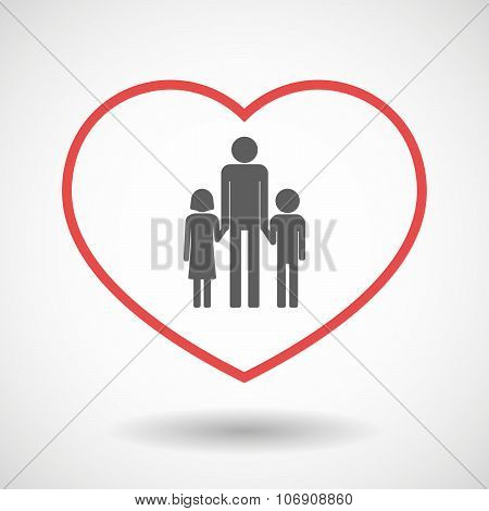 Line Hearth Icon With A Male Single Parent Family Pictogram