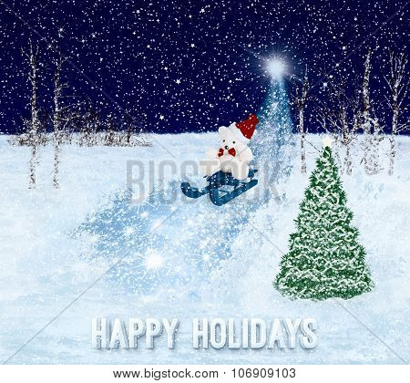 Happy Holidays greeting card. Christmas background.