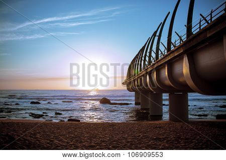 Umhlanga Pier In Durban South Africa In Sunset