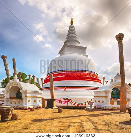 Thuparamaya dagoba in the sacred world heritage city of Anuradhapura, Sri Lanka.