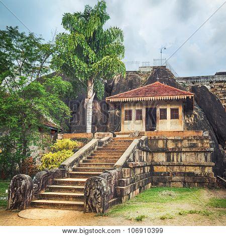 Isurumuniya Viharaya in the sacred world heritage city of Anuradhapura, Sri Lanka. Panorama