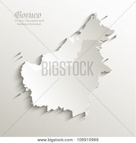 Borneo map card paper 3D natural vector - Malaysia Indonesia Brunei country