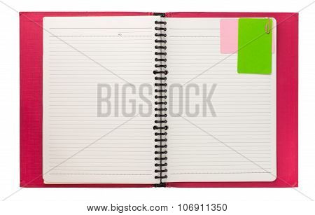 Blank Pink Spiral Notebook Isolated On White