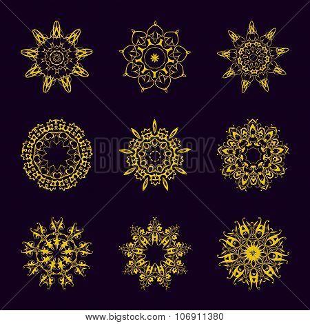 Vintage Golden pattern on dark background
