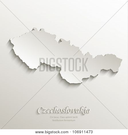 Czechoslovakia map card paper 3D natural vector