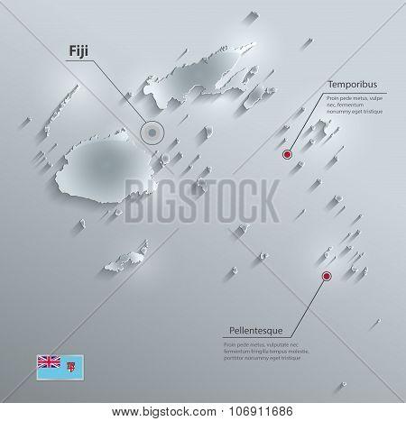 Fiji map flag glass card paper 3D vector