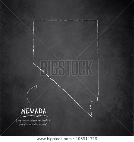Nevada map blackboard chalkboard vector