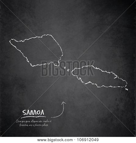 Samoa map blackboard chalkboard vector
