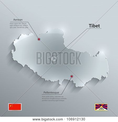 Tibet map flag glass card paper 3D vector china flag