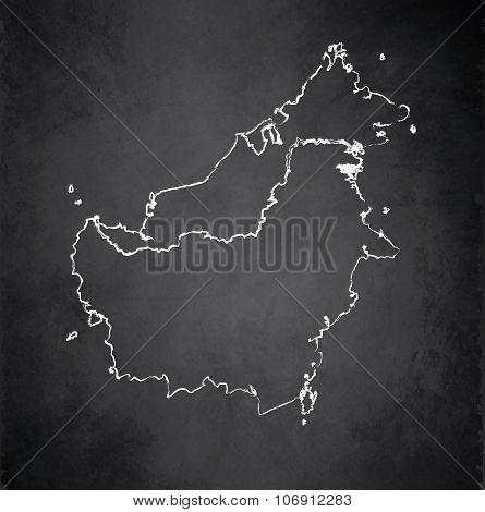 Borneo map blackboard chalkboard raster - Malaysia Indonesia Brunei country
