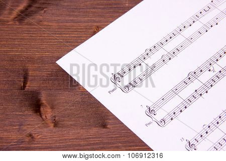 Musical score on wood