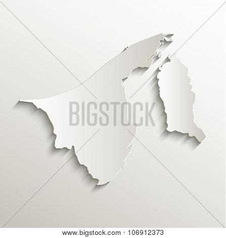 Brunei map card paper 3D natural raster
