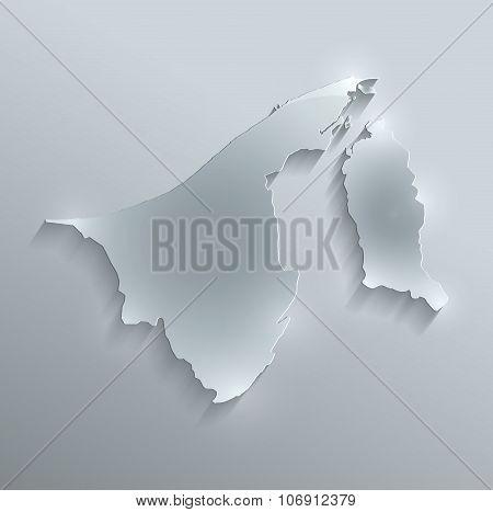 Brunei map glass card paper 3D raster