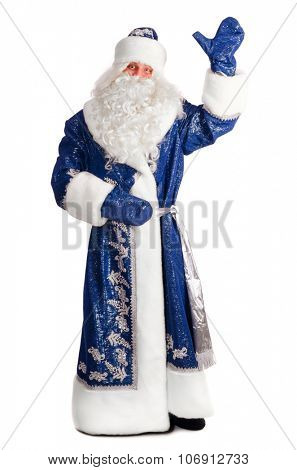 santa claus is saying hello, isolated on white