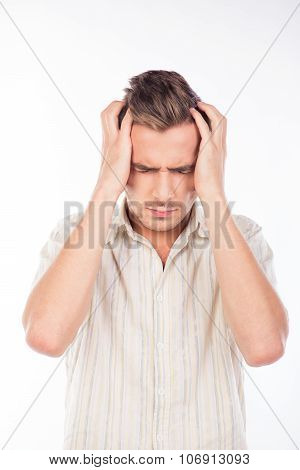 Handsome Young Man Touching His Head Feeling Headache