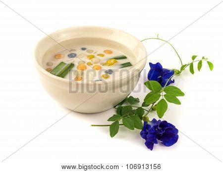 Thai Dessert -  Three Colour Rice Dumpling In Coconut Milk