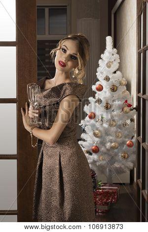 Elegant Girl In Christmas Night Toast
