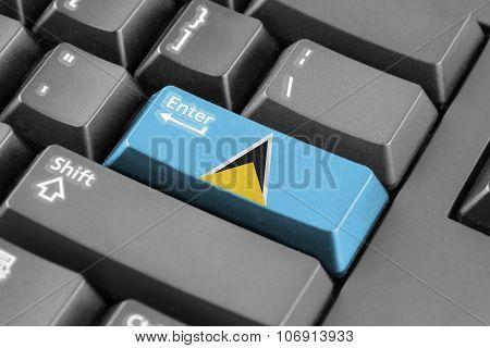 Enter Button With Saint Lucia Flag