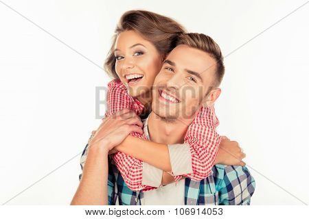 Cute Young Woman Embracing Her Boyfriend