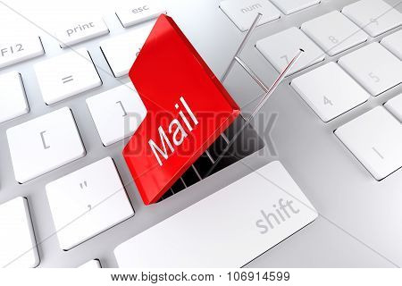 Keyboard With Red Enter Key Open Revealing Underpass And Ladder Mail
