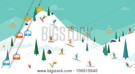 Winter sport. Ski resort. Vector illustration in flat design style