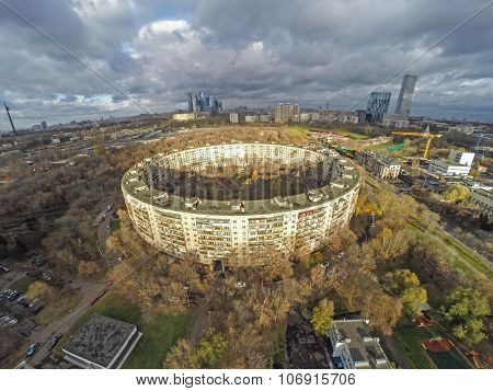 Aerial View Of Round Building In Moscow