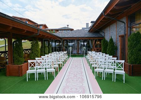 The wedding ceremony outdoors
