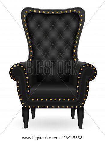 Black Armchair Furniture Vector Illustration