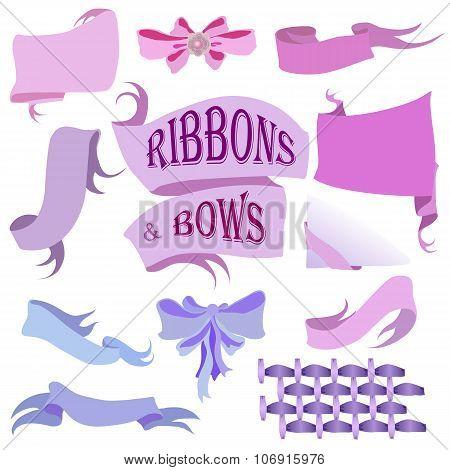 Ribbons and Bows Set, Hand Drawn Vector Illustration