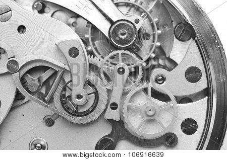 Metal Cogwheels Clockwork Black And White Macro Photo.