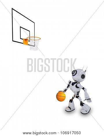 3D Render of a Robot Basketball player