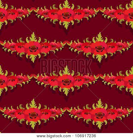 Seamless pattern. Garland of poppies on burgundy background.
