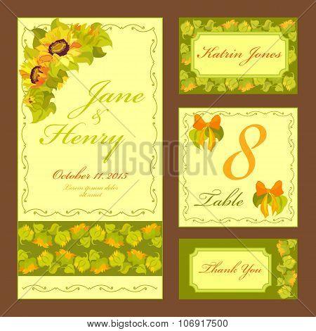 Sunflower Wedding card set. Printable Vector illustration.