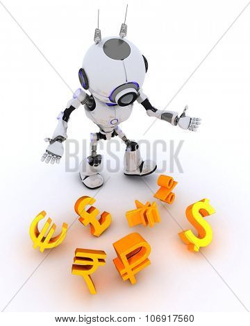 3D Render of a Robot juggling finances