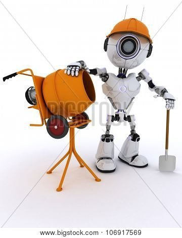 3D Render of a Robot builder with cement mixer
