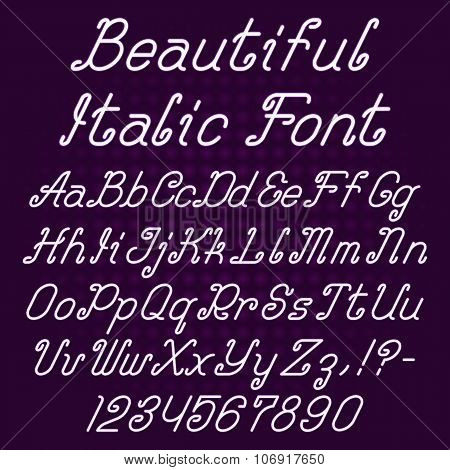 Beautiful italic curly font
