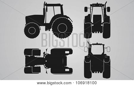 Front, back, top and side tractor projection