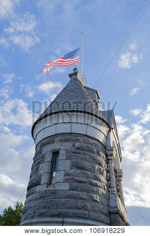American Flag On Top Of The Belvedere Castle
