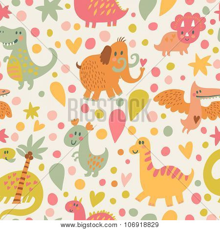 Lovely dinosaurs and mammoth in cartoon seamless pattern. Seamless pattern can be used for wallpapers, pattern fills, web page backgrounds,surface textures. Gorgeous childish seamless background