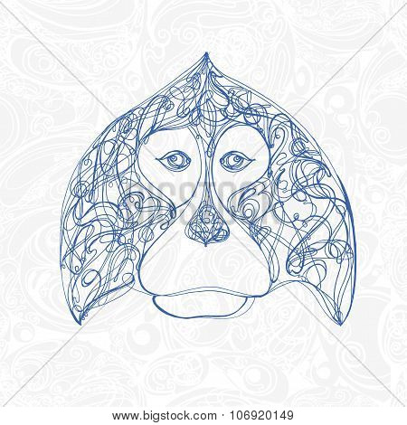 Isolated Decorative Chimpanzee On Abstract Background For Your New Year Design