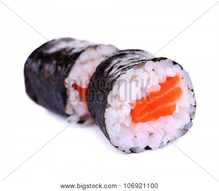 Tasty maki rolls isolated in white