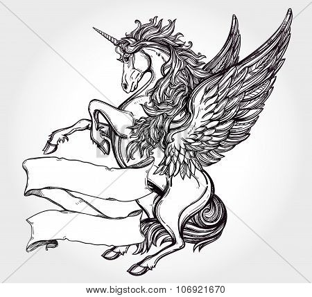 Vintage Unicorn with scroll for your text.