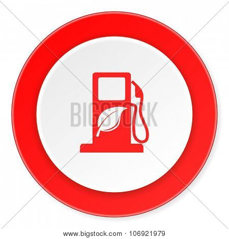 biofuel red circle 3d modern design flat icon on white background