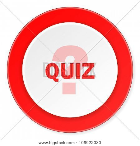quiz red circle 3d modern design flat icon on white background