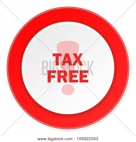 tax free red circle 3d modern design flat icon on white background