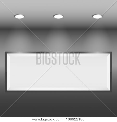 Illuminated blank frame on the wall vector template.