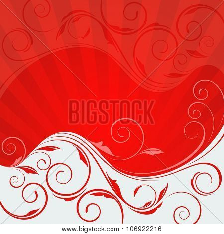 Abstract floral wave red and white vector background.