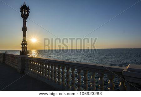 Promenade Overlooking The Sea In Cadiz, Spain